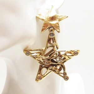 Vintage YSL Brutalist Rhinestone Star Clip Earring